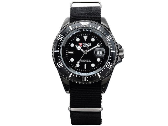 Shark Army Mens Black Nylon Date Military Sport Quartz Watch + Gift Box
