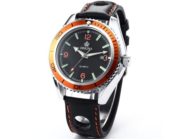 Orkina Mens Boyfriend Orange Black Sport Quartz Leather Wrist Watch Gift