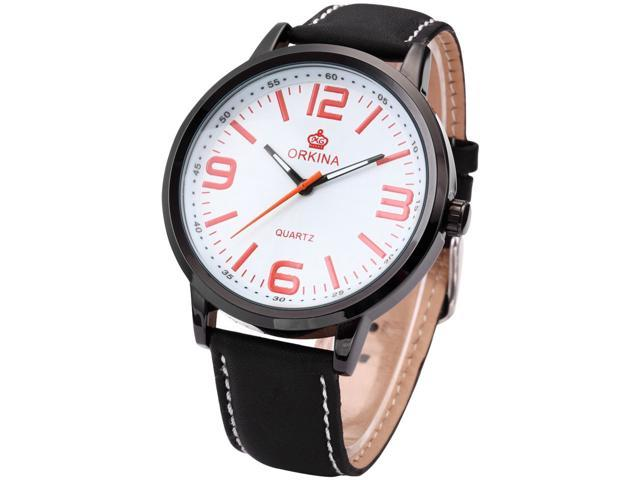 Orkina Mens Lady Big White Dial Leather Sport Quartz Wrist Watch Gift