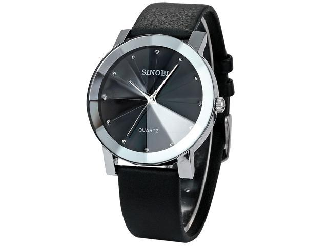 SINOBI Crystal Elegant Mens Women Black Quartz Leather Wrist Quartz Watch Gift