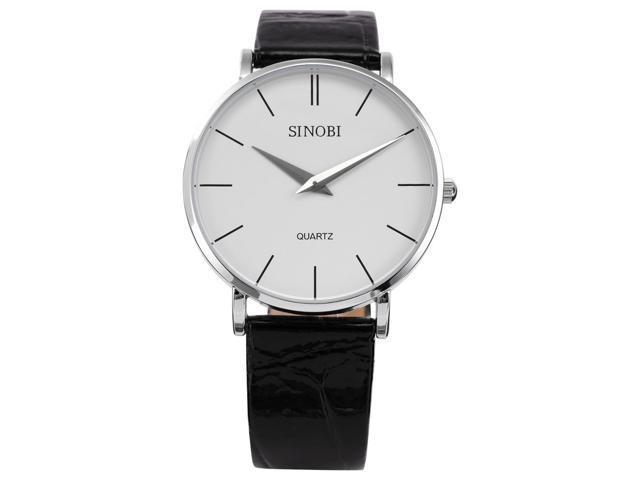 White Big Dial Mens Lady Women Unisex Leather Quartz Sport Wrist Watch Gift