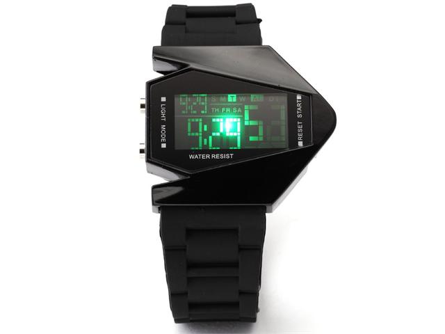 TVG Men's Sport Multicolor Blue LED Backlight Digital Date Alarm Black Rubber Watch