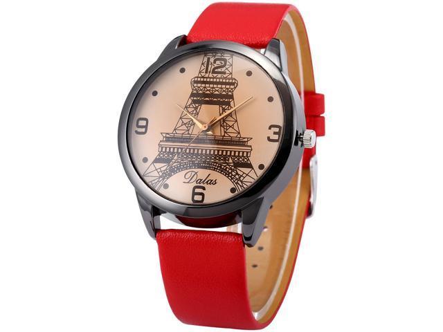 Dalas Fashion Eiffel Tower Lady Girl Analog Quartz Red Leather Wrist Watch