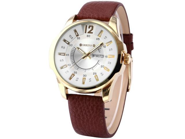 ORKINA Luxury White Dial Date Day Display Leather Mens Quartz Wrist Watch Gift