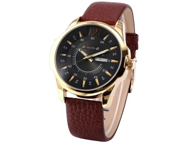 ORKINA Elegant Black Dial Date Day Display Leather Mens Quartz Dress Wrist Watch Gift