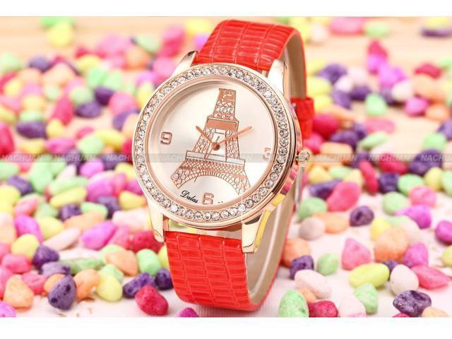 Dalas Rose Gold Crystal Eiffel Tower Ladies Women Red Leather Quartz Wrist Watch