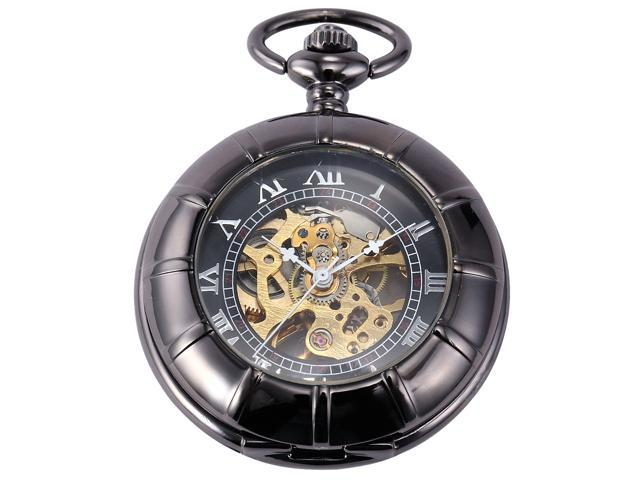 Men's Retro Grey Case Skeleton Dial Mechanical Pendant Pocket Watch + FOB Chain WPK119