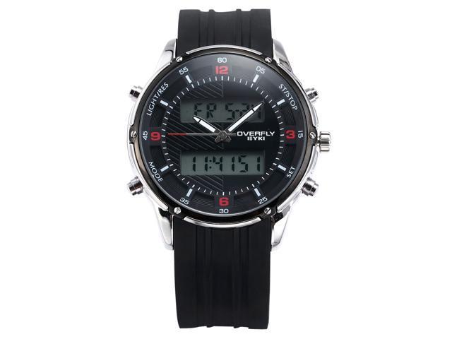 EYKI Mens Black Dual Time LCD Rubber Chronograph Date Alarm Sport Quartz Watch EKI067