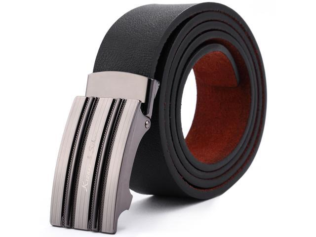 KS Men's Fit 20-49 inch Steel Buckle Genuine Leather Auto Lock Suit Dress Belt KB035