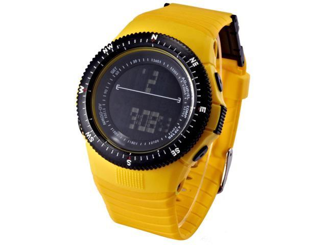 HOTARU Yellow LCD Digital Date Alarm Chronograph Lady Men Sport Rubber Watch HTR212