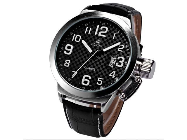ORKINA Marine Oversized Date Display Leather Strap Mens Sport Quartz Watch Gift ORK174
