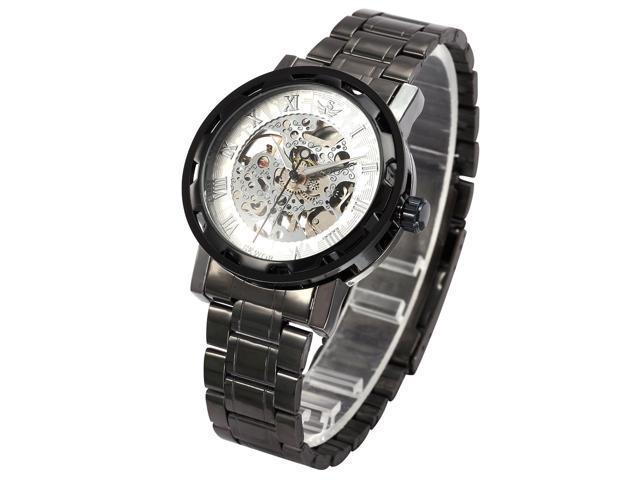 Men's Transparent Dial Military White Dial Skeleton Mechanical Gunmetal Steel Watch PMW237