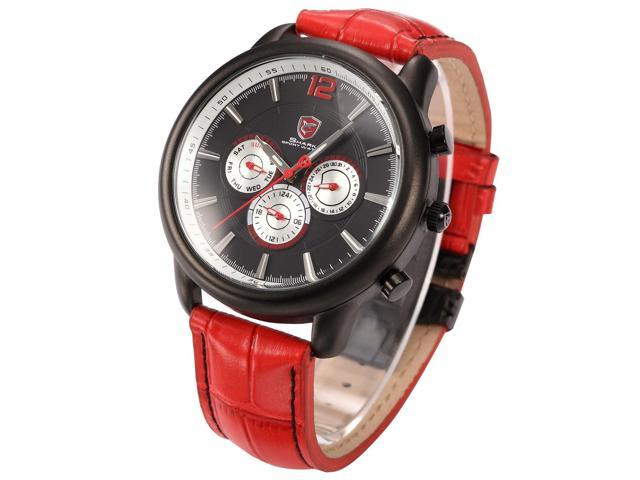 Ganges SHARK Mens Date Day Black White Sport Red Leather Quartz Wrist Watch SH098