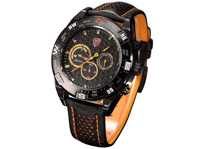 Shark SH154 Men's Army Millitary Date Day Display Dual Time Zone Leather Band Sport Wrist Watches