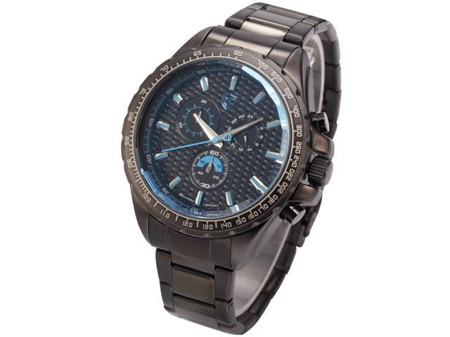 Shark Mens Chronograph Gunmetal Stainless Steel Band Japanese Quartz Sport Watch SH189