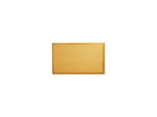 Bulletin Board, Natural Cork Over Fiberboard, 60 x 36, Solid Oak Frame