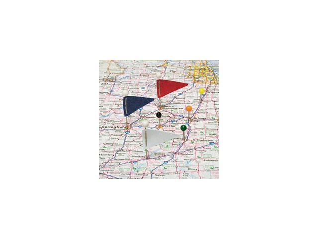 Map Flags, Plastic, Assorted, 1 1/16, 75/Box