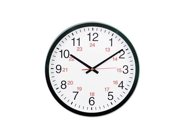 24-hour round wall clock  12-3  4in  black