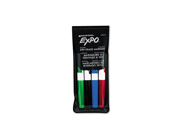 Dry Erase Markers, Fine Point, Assorted, 4/Set
