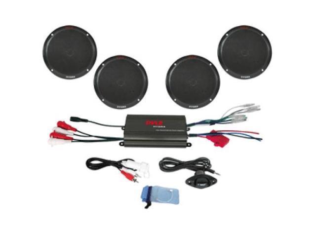 """Pyle 4-Channel 800W Waterproof Micro Marine Amplifier & 6.5"""" Speaker System - Black (PLMRKT4B)"""