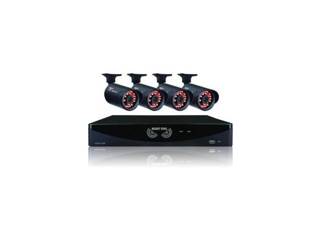 NIGHT OWL B-A720-81-4 Night Owl 4 Channel Video Security System with 4 x 650 TVL Bullet Cameras - Digital Video Recorder, Camera - H.264 Formats - 500 GB Hard Drive - 20 Fps - 650 - Composite Video In
