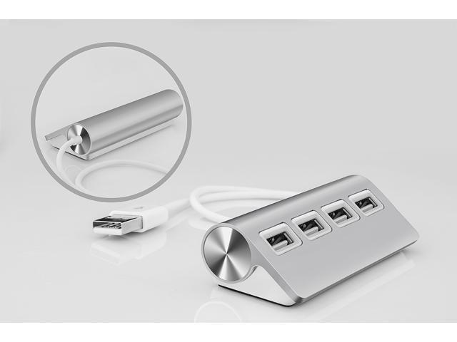 "UtechSmart Premium 4-Port Aluminum USB Hub (11.5"" Cable) for iMac, MacBook Air, MacBook Pro, MacBook, Mac Mini - Silver"