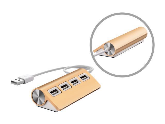 "UtechSmart Premium 4 Port Aluminum USB Hubs (11.81"" Cable) for iMac, MacBook Air, MacBook Pro, Mac Mini - Gold"