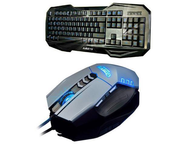 Ajazz LED Illuminated Ergonomic USB Wired Multimedia Blue Backlight Backlit Gaming Keyboard + 4000DPI 8D Ajazz Griffin 8 Buttons X4 Optical Usb Professional Gaming Mouse Set