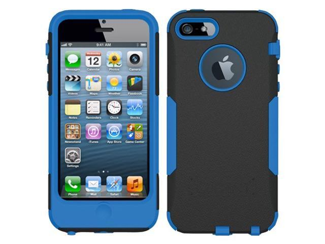 Blue/ Black OEM Trident Aegis Apple Iphone 5 Hard Cover Over Rubbery Soft Silicone Skin Case W/ Screen Protector