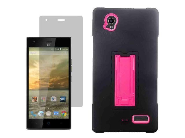 ... Hard Shell Stand Cover Case Boost Mobile ZTE Warp Elite x Screen Film