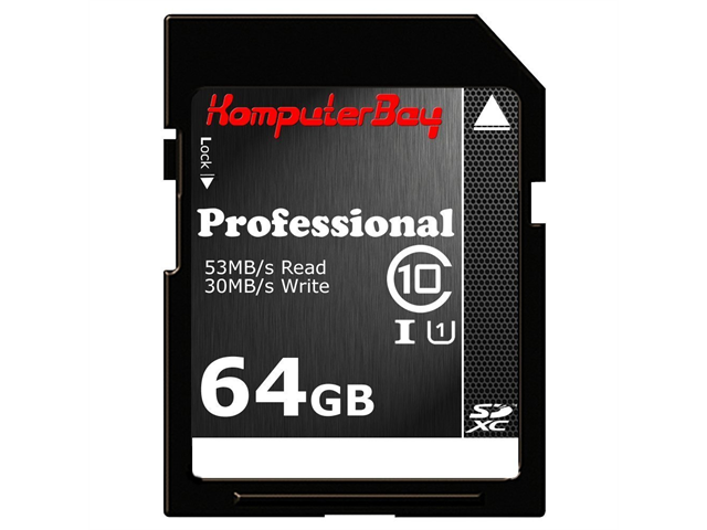 Komputerbay 64GB SDXC Secure Digital Extended Capacity Speed Class 10 UHS-I Ultra High Speed Flash Memory Card 30MB/s Write 53MB/s Read 64 GB