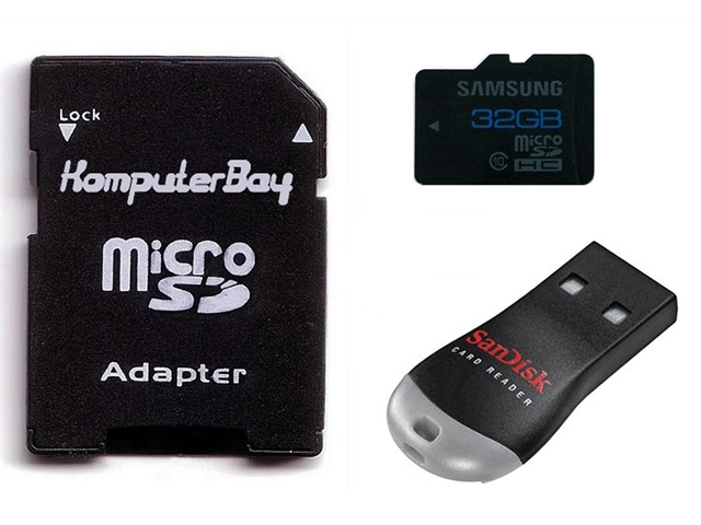 Samsung 32GB Class 10 MicroSDHC High Speed Memory Card with Komputerbay SD Adapter and SanDisk MobileMate USB Reader - OEM