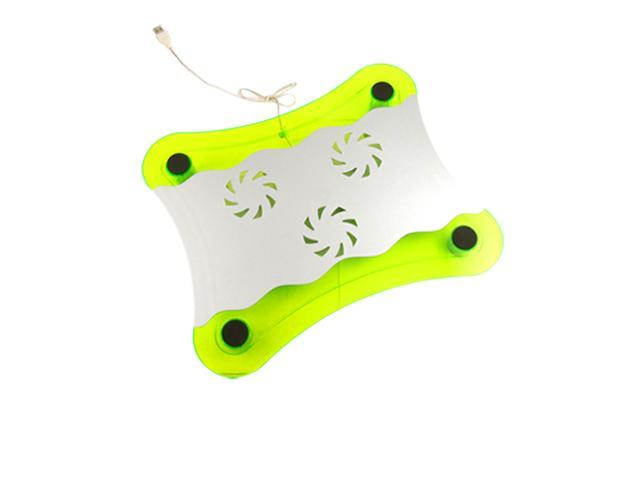 Laptop Blue LED 3 Fans Cooling Pad Green Silver Tone