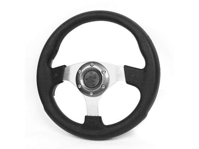 Universal Vehicle Car Faux Leather Coated Steering Wheel Black Gary