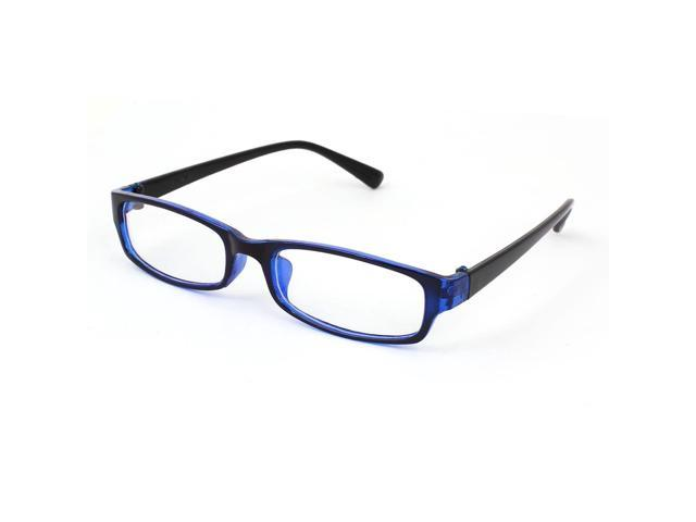 Ladies Blue Frame Glasses : Unique Bargains Ladies Black Blue Plastic Full Frame Clear ...