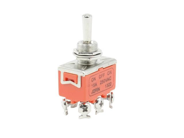 Unique Bargains ON/OFF/ON Double Pole Double Throw 3 Position Toggle Switch AC 250V 15A
