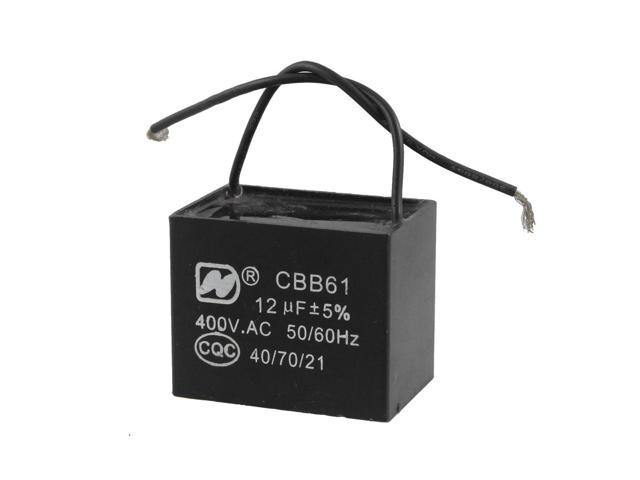 Ceiling Fan Capacitor CBB61 12uf MFD 400VAC 2 Wire 50 60Hz