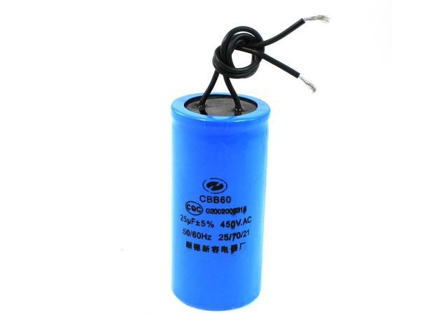 Blue Wire Cylinder Capacitor Cbb60 For Motor Start 450vac