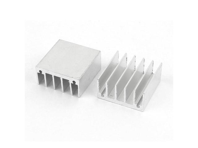 2 Pieces Silver Tone Aluminum Radiator Heat Sink Heatsink 30mm x 30mm x15mm