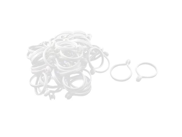 Unique Bargains Household Curtain Drapery Plastic Rings Hooks White 40mm Outer Dia 50pcs