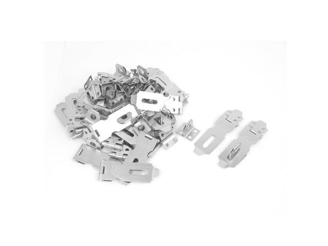 Unique Bargains 30pcs Silver Tone Metal Safety Gate Clasp Lock Locking Padlock Latch Hasp Staple