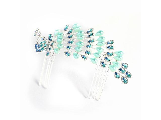 Girl Ladies Baby Blue Faux Pearl Inlaid Peacock Shaped Hair Comb Clip