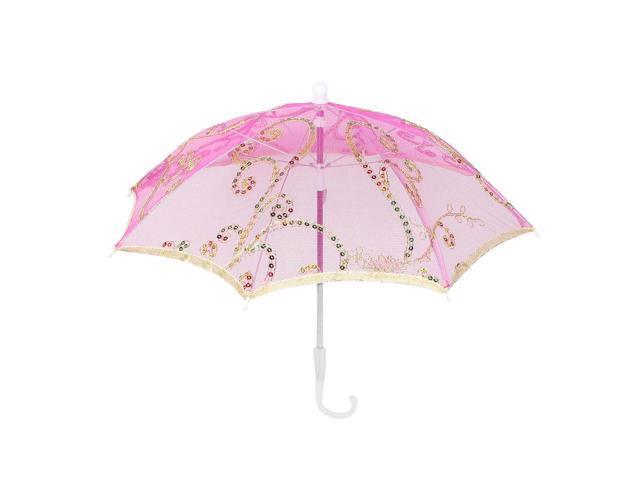Unique Bargains Bridal Shower Fushsia Flower Pattern Folding Mini Lace Children Umbrella