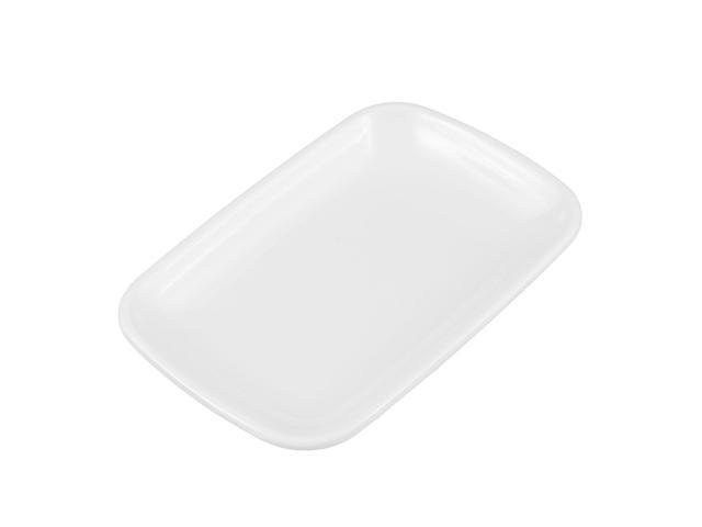 Restaurant Plastic Rectangle Shaped Dessert Pickles Appetizer Plate Dish White