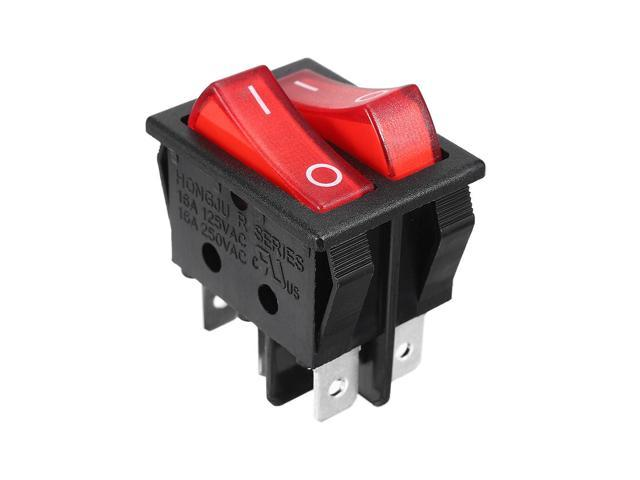 AC 250V 15A / 125V 20A Red Light 6P Terminals ON/OFF SPST Boat Rocker Switch