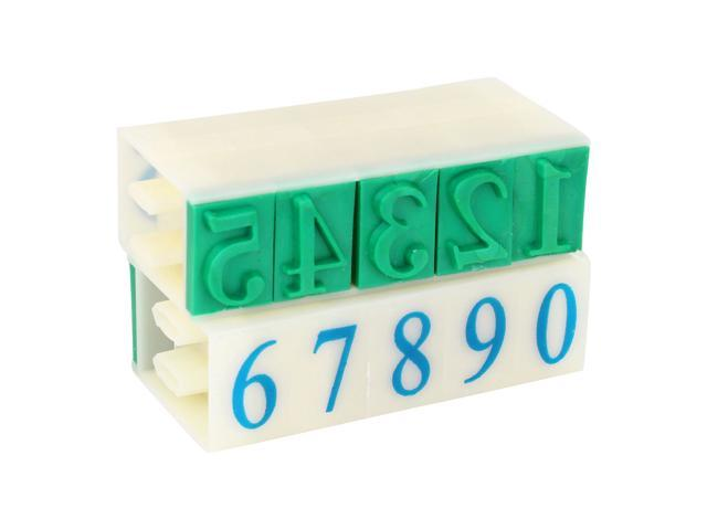 Unique Bargains Plastic Digits Arabic Numerals Numbers Stamp School Office Students Stationery Green