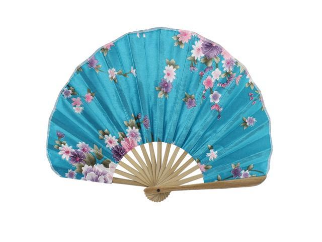 Unique Bargains Party Decor Bamboo Frame Fabric Blooming Flower Printed Folding Hand Fan Teal