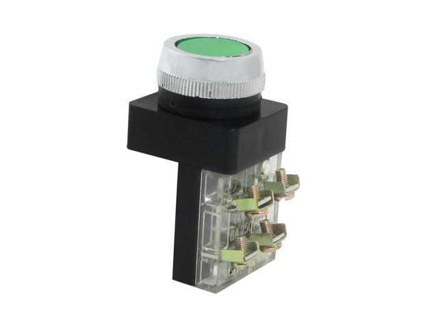 Unique Bargains 6A/250VAC Green 4 Screw Terminals Momentary Flat Pushbutton Switch