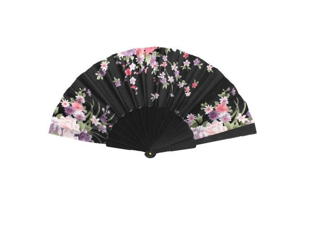 Chinese Style Polyester Flower Print Plastic Folding Hand Fan 16.5