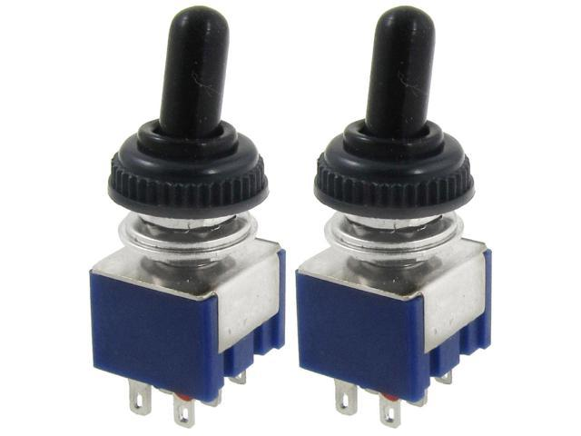 2 x AC 125V 6A ON/ON 2 Way DPDT 6 Terminals Toggle Switch w Waterproof Cover
